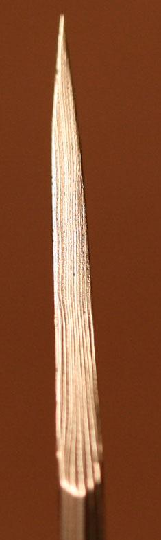 Damascus blade tip.