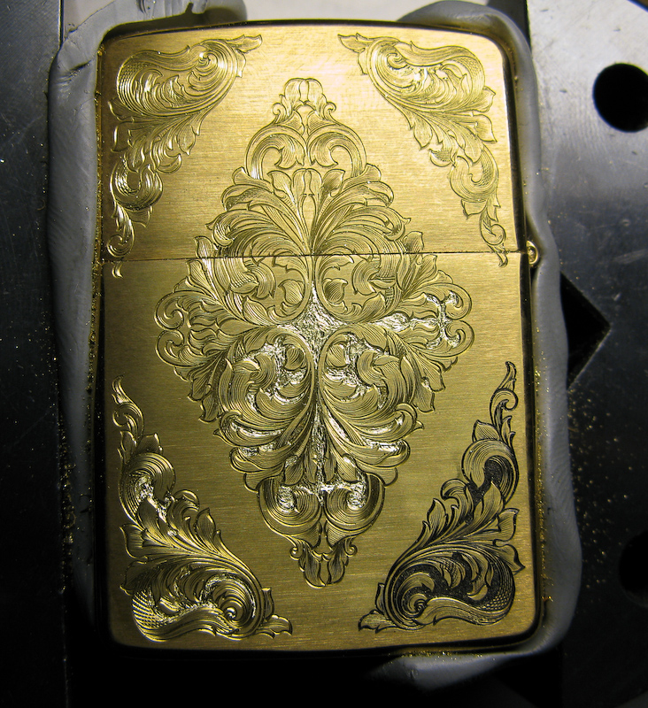 Zippo engraving half finished